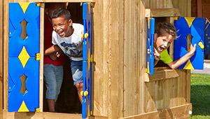 Kids Outdoor Climbing Frames Fort Playhouse Amp 2 Swing
